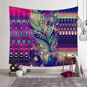 Image 3 - CAMMITEVER Feather Abstract People Face Colorful Tapestry Wall Hanging Tapestries Wall Tapestry Bohemian Collage Dorm Decoration