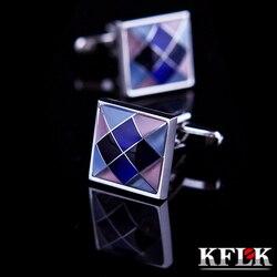Kflk jóias camisa moda abotoaduras para homens marca colorido botão de ligação manguito alta qualidade luxo casamento noivo frete grátis