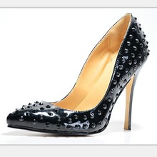 Patent Leather Women's Stiletto  Heel Shoes zapatos mujer Solip-On Cover High Thin Heels Solid  High Thin Pumps With Rivets