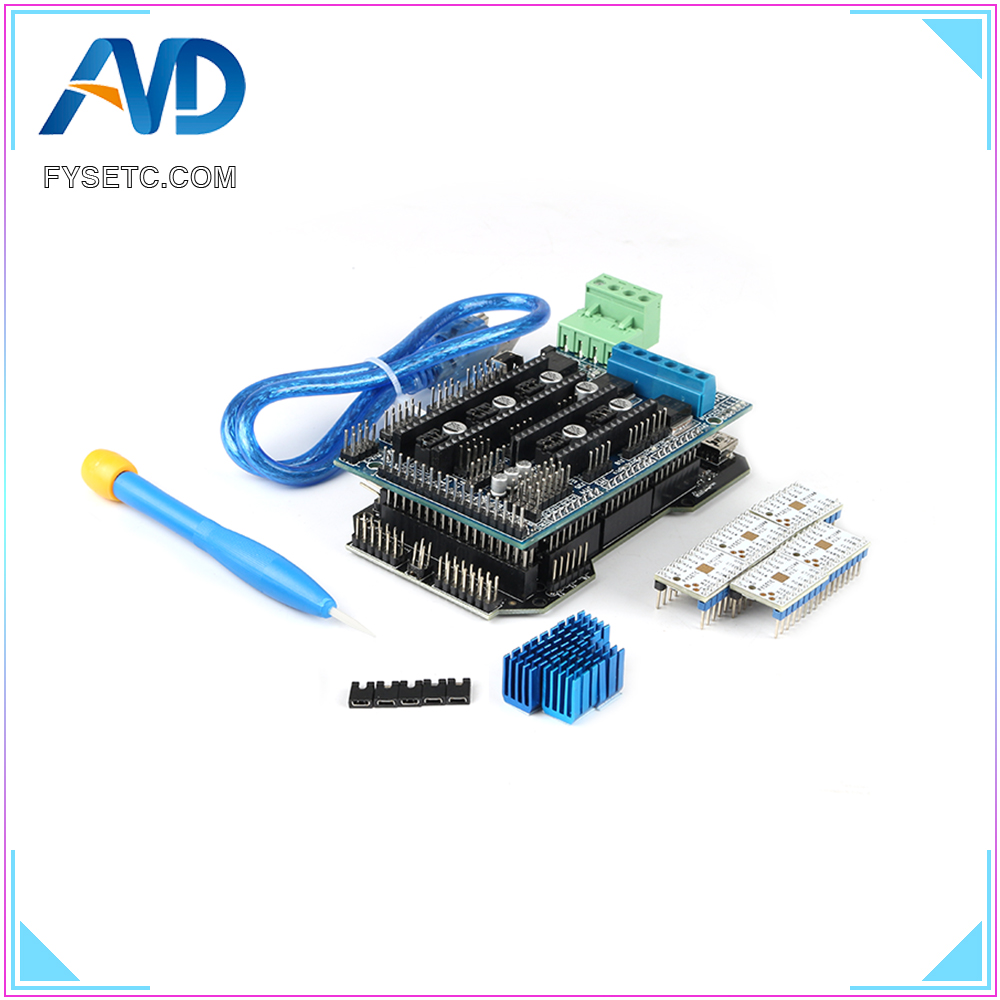 Imprimante 3D pièces RE-ARM carte de contrôle 32 bits mise à niveau Mega 2560 R3 + rampes 1.5 panneau de commande + 5pcs TMC2208 V1.2 UART moteur pilote - 6