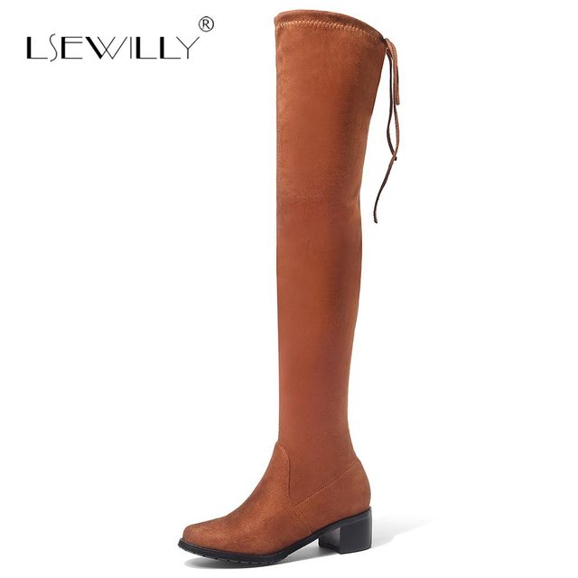 b621accd085 Lsewilly Women shoes New Over The Knee Thigh High Black Boots Women  Motorcycle Long Boots Thick Heel suede Leather Shoes S592