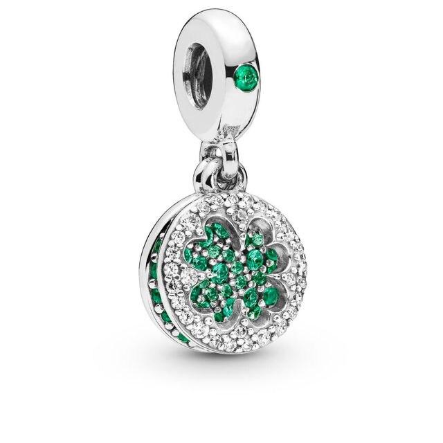 Authentic 925 Sterling Silver Dazzling Lucky Four-Leaf Clover Hanging Charm Bracelet Pendant Fit Pandora Bracelet DIY Jewelry
