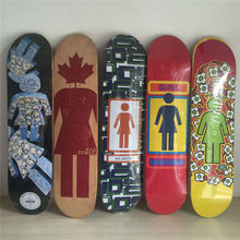 2014  GIRL Brand mixed Canadian Maple Skateboard Deck 7.5″ Skateboard Shape Maple Black & Grey Pattern Skate Deck Patins Street