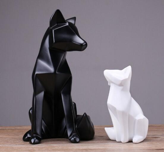 Simple White Abstract Geometric Fox Sculpture Ornaments