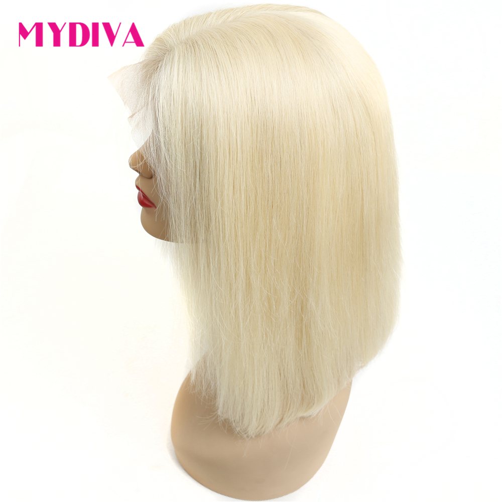613 Short Bob Wig 130% Density 8   14 inch Brazilian Remy Straight Blonde Lace Front Human Hair Wig for Black Women Mydiva-in Human Hair Lace Wigs from Hair Extensions & Wigs    1