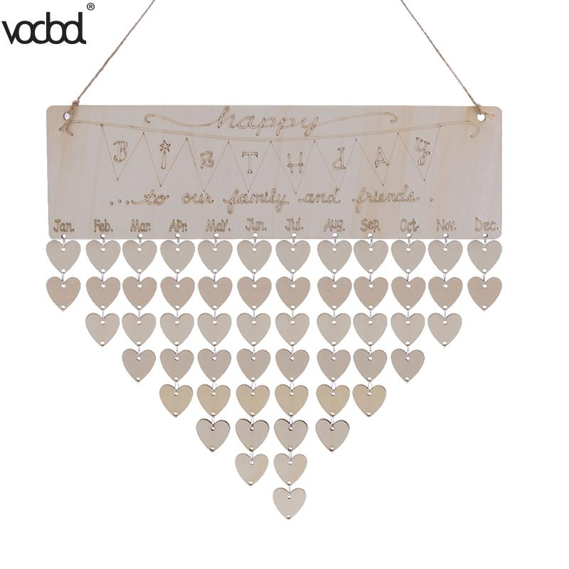 DIY Wooden Calendar Happy Birthday Printed Heart Shape Wall Calendar Sign Special Dates Planner Board Hanging Decor Gifts vodool diy wooden birthday calendar family celebrations wall calendar write special dates planner board hanging decor gifts