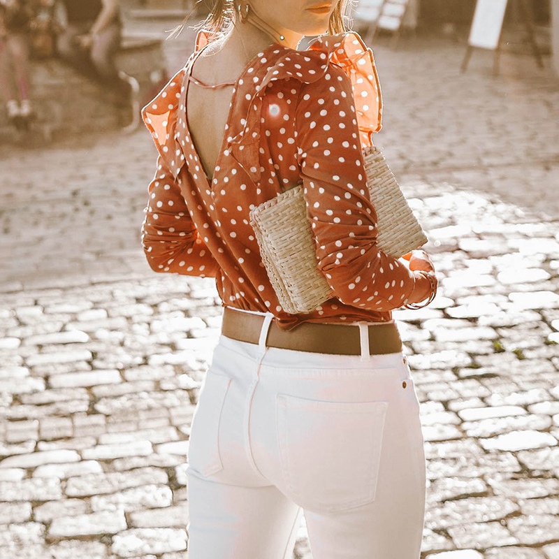 Women   Blouses     Shirts   Elegant Ruffles Long Sleeves Polka Dots Back V Neck 2018 NEW Autumn Blusa Top WS9643Y