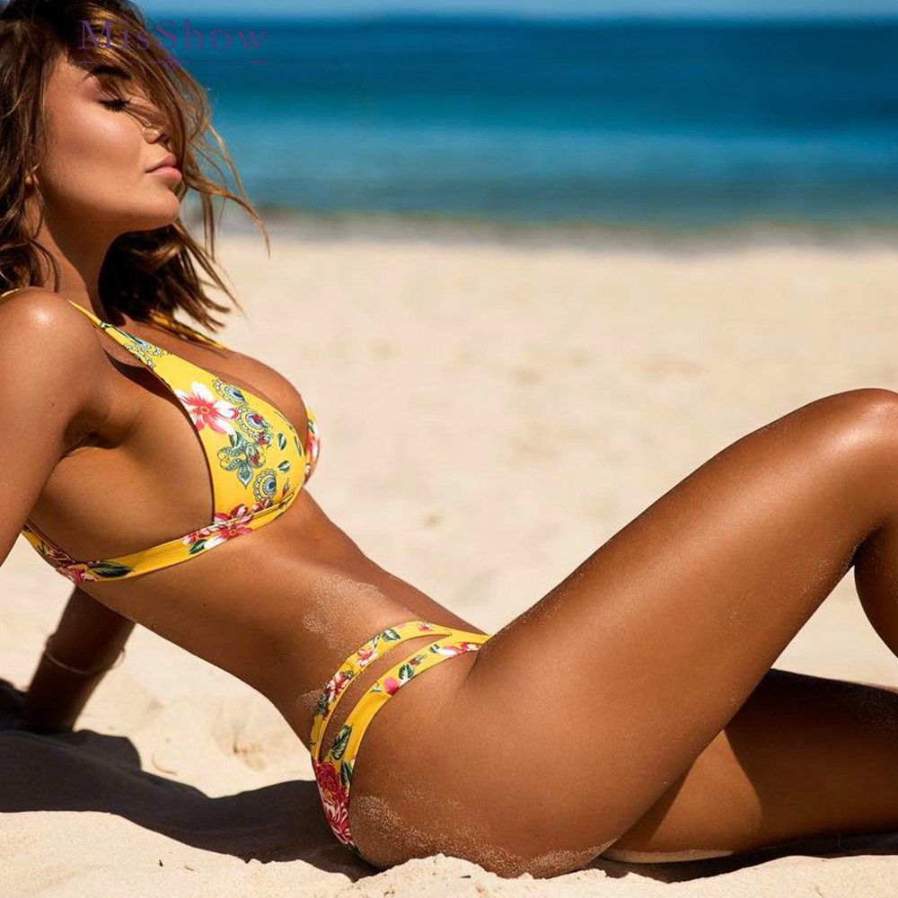 Floral Sexy Brazilian Girls Bikini Set String Bikini Women Swimwear Low Waist Push Up Bikini 2018 Swimsuit Female Elastic Pants ...