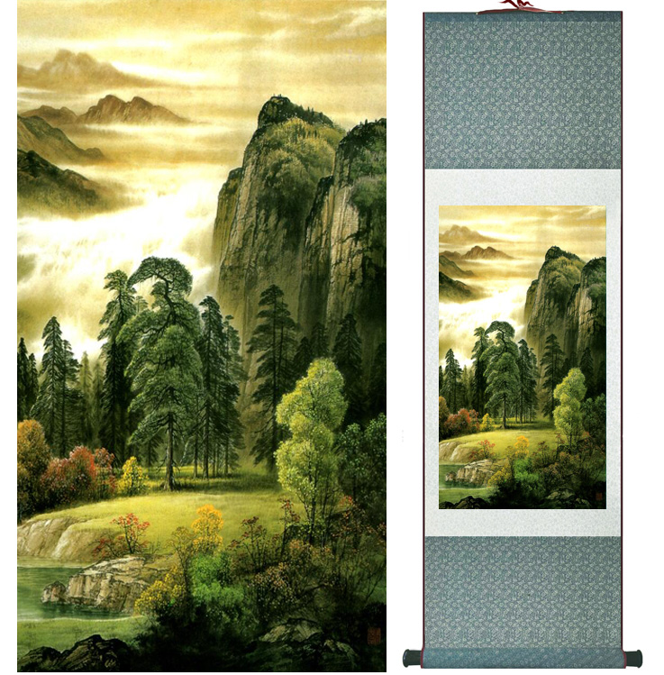 landscape painting Home Office Decoration Chinese scroll painting mountain and River paintingPrinted painting042306