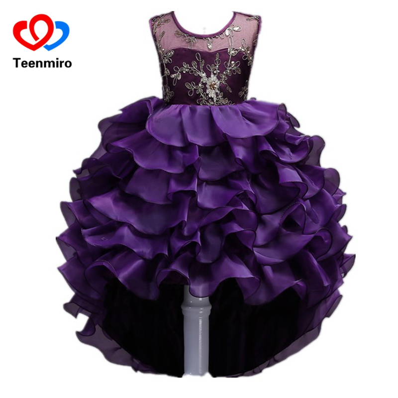 2019 New Flower Girl Dresses Ruffles Princess Evening Gowns Kids Elegant Dress for Girls High Low Lace Wedding Party Robe Fille