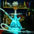 Transparent Acryl Shisha Set LED Licht Shisha Rohr mit Keramik Schüssel Nargile Schlauch Holzkohle Tablett Metall Zangen Chicha Narguile-in Wasserpfeifen & Zubehör aus Heim und Garten bei