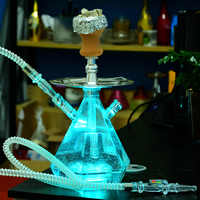 Transparent Acrylic Hookah Set LED Light Shisha Pipe with Ceramic Bowl Nargile Hose Charcoal Tray Metal Tongs Chicha Narguile