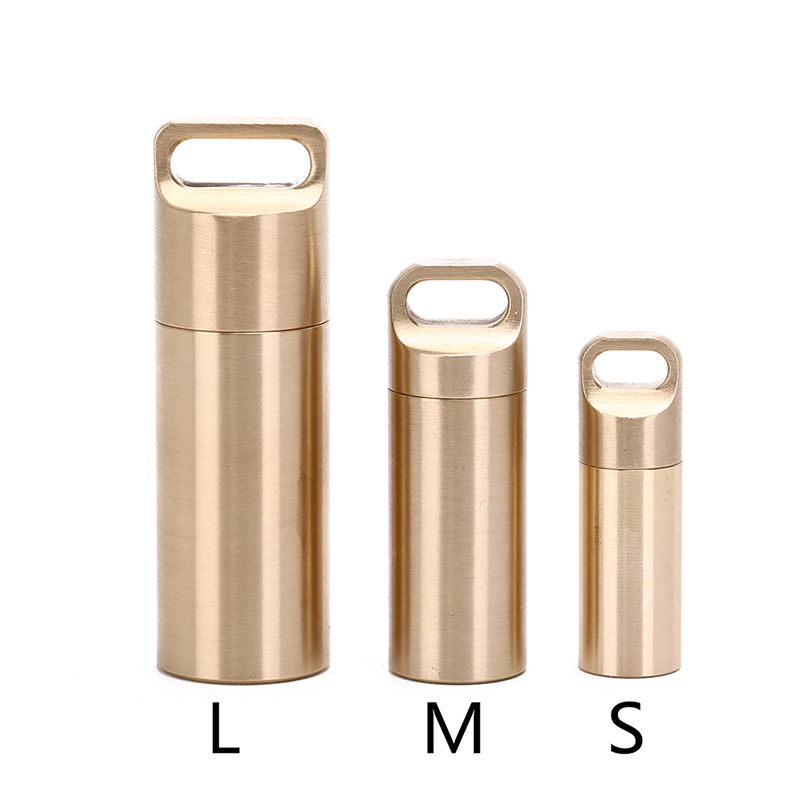3Sizes Aluminium Alloy Pill Cases Multifunctional Brass Seal Cabin Waterproof Medicine Pill Drug Cigarette Cases