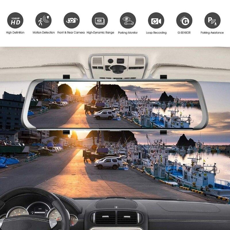 Écran tactile de caméra de tableau de bord LCD caméra de voiture avec 170 grand Angle rétroviseur caméra avec caméra avant et arrière