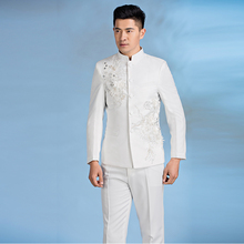 Chinese tunic suits mens stand collar men's flower clothing slim chinese style men wedding groom wear costume black white 2XL