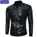 Man's New Winter Slim Pu Leather Jacket Male Long Sleeved Solid Color Casual Fashion 2016 New Man Pu Leather Coat Male's Jackets