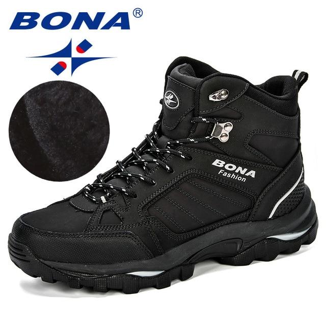 BONA Мужские ботинки анти-скольжения кожаной обуви Для мужчин популярные удобные Демисезонный Мужская обувь короткие плюшевые ботильоны на ... 1