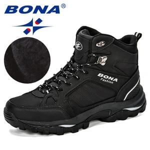 Image 2 - BONA Men Boots Anti Skidding Leather Shoes Men Popular Comfy Spring Autumn Men Shoes Short Plush Snow Boots Durable Outsole