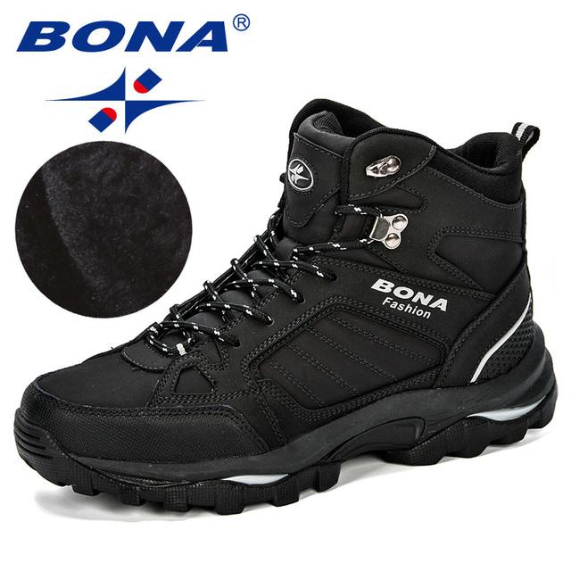 BONA Men Boots Anti-Skidding Leather Shoes Men Popular Comfy Spring Autumn Men Shoes Short Plush Snow Boots Durable Outsole