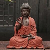 Большой размеры статуи Будды Tathagata Индии фигурка Йога с символом мандала скульптуры керамика чай церемонии украшения подарок домашний дек