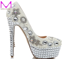 Freies Verschiffen Luxus Frauen Mode Hochzeit Schuhe Rhienstone Bogen Ultra High Heel Kristall Quaste Schuhe Party Prom Pumpen