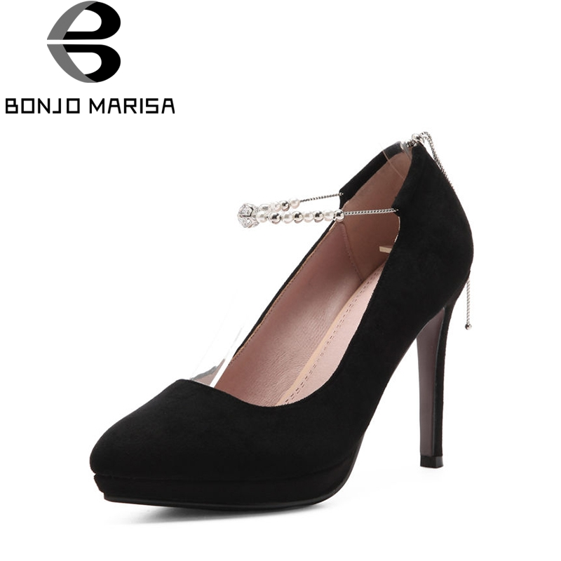 BONJOMARISA Women's Ankle Strap High Heel Pointed Toe Party Wedding Shoes Woman Nubuck Upper Pumps Big Size 33-43 esveva 2017 ankle strap high heel women pumps square heel pointed toe shoes woman wedding shoes genuine leather pumps size 34 39