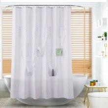 Minimum Multifunction Pocket Shower Curtain Plain Polyester