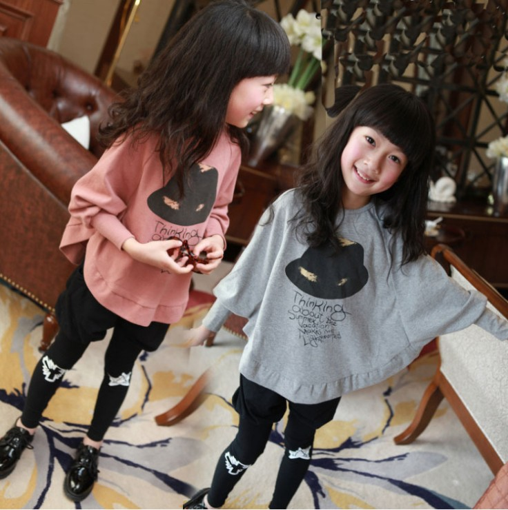 girls tracksuit children hoodies cardigan Casual Print Fashion Floral sweatshirt kids Bat shirt Irregular stitching cute clothes 1