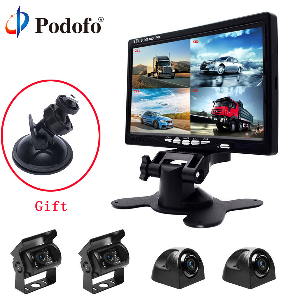 Podofo 7 Split Screen Quad Car Monitor TFT LCD Display 4 CH Backup Camera Kit for Reversing Camera System +4 Rear View Cameras 4 3 tft lcd car rear view stand security monitor and camera kit black