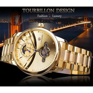 Image 2 - Forsining Automatic Self Wind Male Watch Golden Dial Stainless Steel Casual Moonphase Gold Mechanical Tourbillon Men Clock Reloj