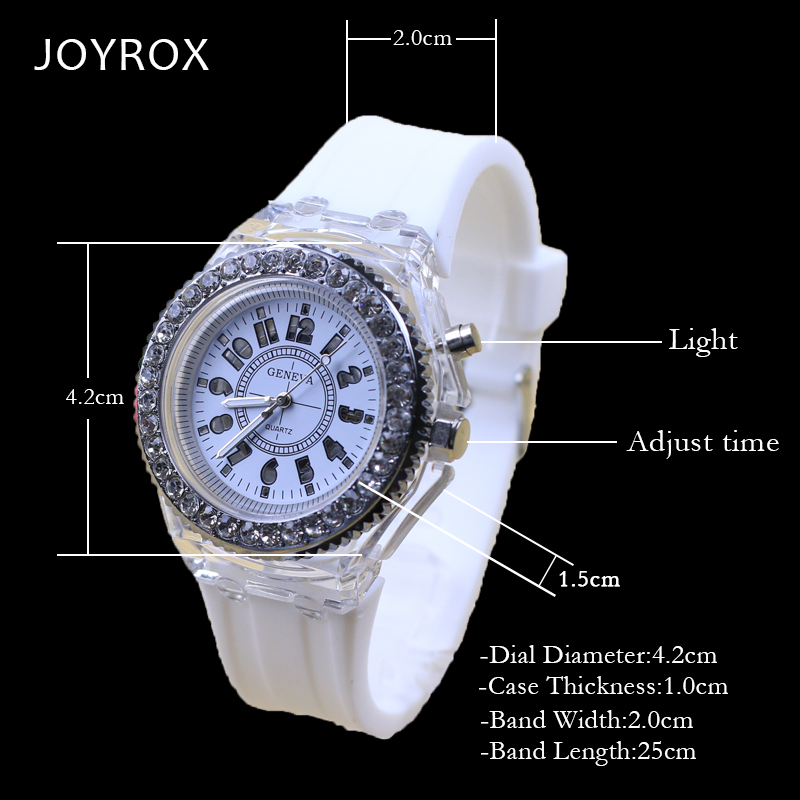 JOYROX Glowing LED Luminous Lights Elektronisch horloge 2018 Hot - Dameshorloges - Foto 3