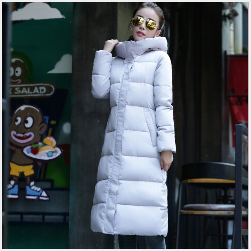 ФОТО Europe Latest Fashion Women Winter Coat Elegant Hooded Printing Super Warm Down jacket Pure color Big yards Long Slim Coat G2212