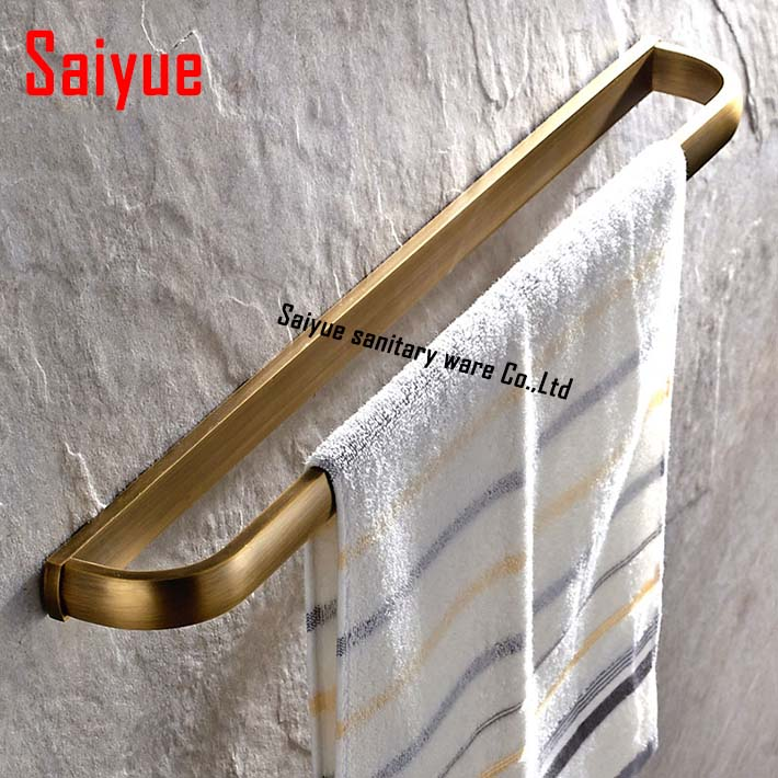 23 inch Creative Soild Brass Towel Bar Antique Brass Wall Mount Single Bar Towel Rings towel hanger  wall mounted fixmee 50pcs white plastic invisible wall mount photo picture frame nail hook hanger