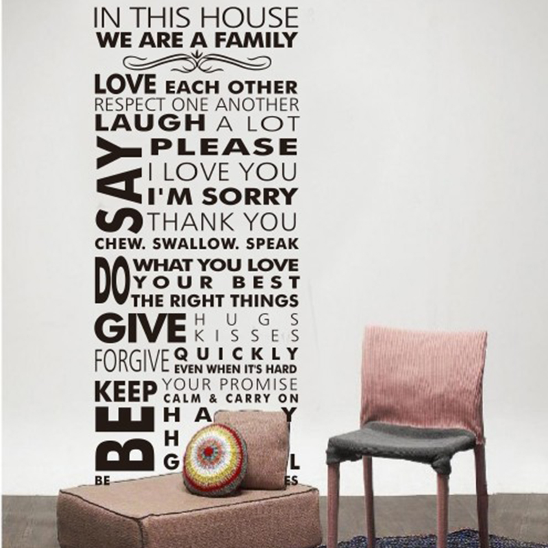 New Wall Art House Rules Letters Living