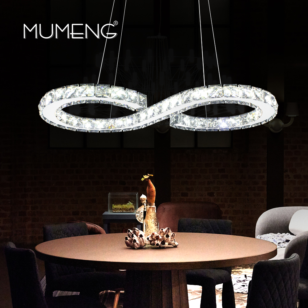MUMENG Modern Chrome Chandelier Crystals Diamond Ring 24W LED Lamp Stainless Steel Hanging Light Fixtures Adjustable