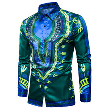 Mens printed long-sleeved shirt with loose-fitting version in the new 2019 national style