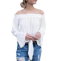 Fashion Off the Shoulder Women T Shirts Full Butterfly Sleeve Solid Bandage Shirt for Woman Street wear Top
