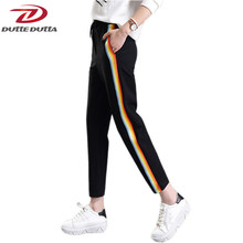 26fa380cb2a DutteDutta Plus Xize Women Casual Sweatpants Rainbow Striped Printed  Leggings Side Pant Loose Trousers Joggers Black Sweat Pants