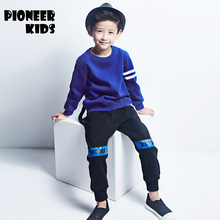 Pioneer Kids 2016 New  Boys Clothing Set Autumn Winter 2 Piece Sets Hooded Coat Suits Fall Cotton Big Boys Clothing set.