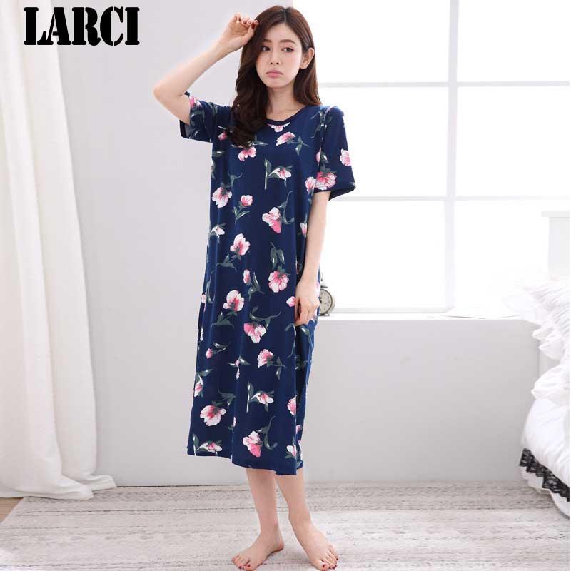 LARCI summer 2018 Sexy women cotton dress Nightgown pink Nightwear Dress plus size Sleepwear nightdress Home Sleepshirt C002
