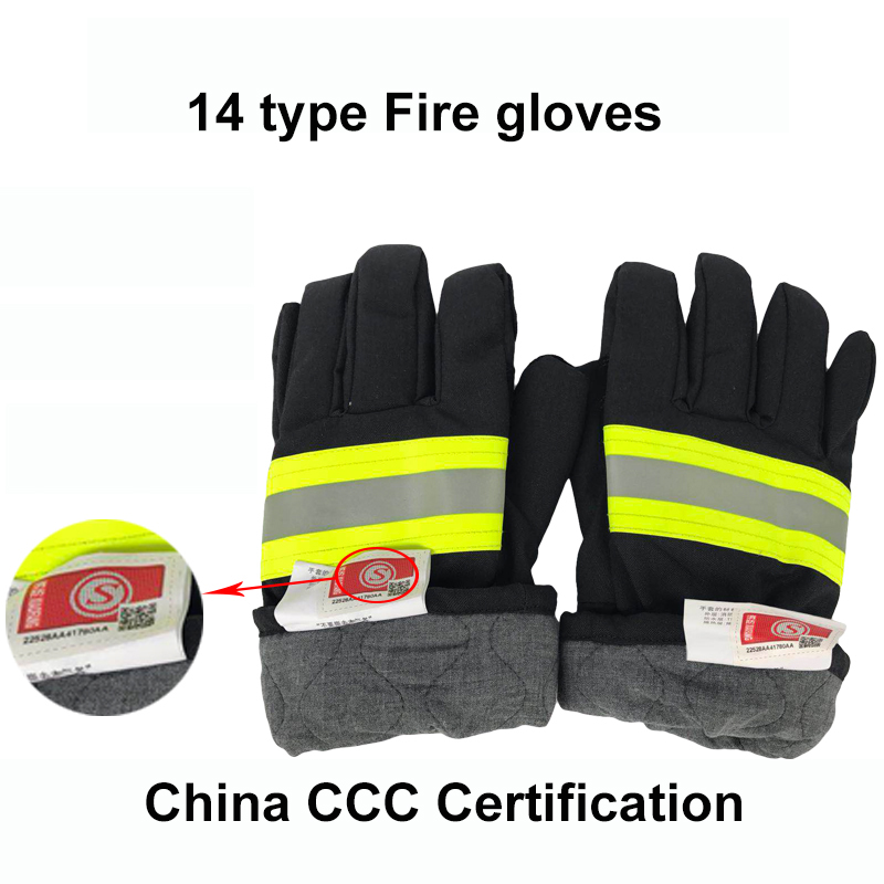 Professional Fire Proof Gloves China CCC Certification Fire-fighting Flame Retardant Protective Gloves With Reflective Strap