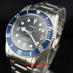Corgeut 41mm BLUE Bezel black 3 6 9  sterial dial white marks sapphire glass bracelet Automatic watches men E2414