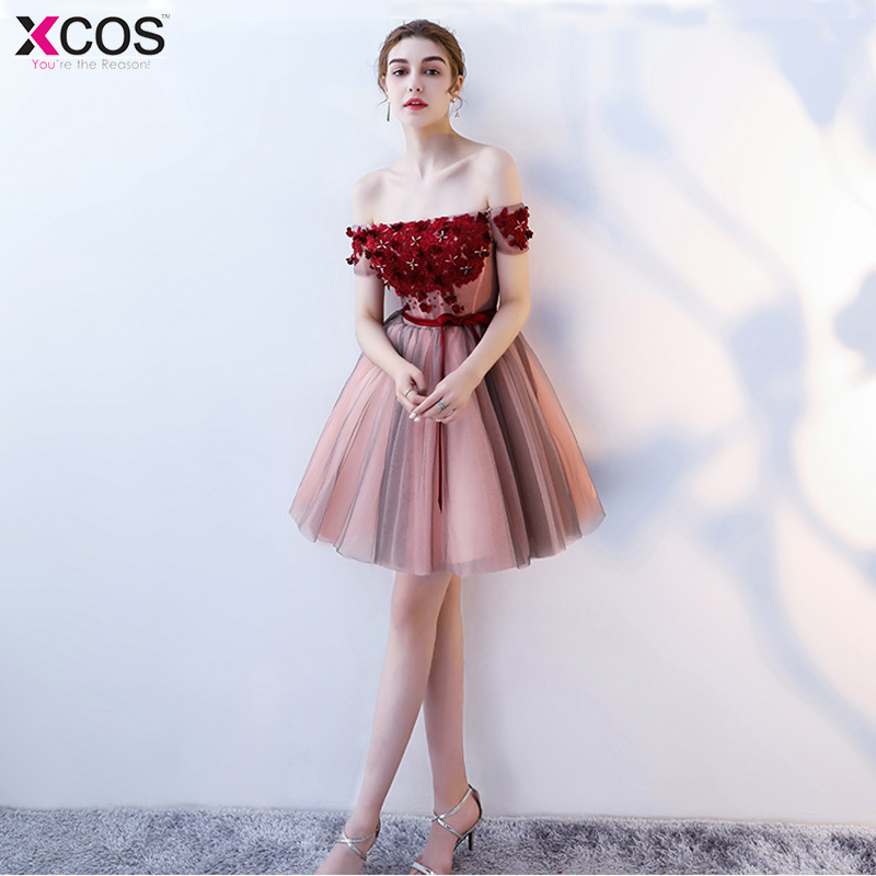 Cocteleria 2018 Red Popular Off The Shoulder Short Beautiful Appliques Cocktail Gowns Flower Pattern Sashes Bow Cocktail Dress
