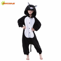 Newcosplay Anime Cosplay Costume Unisex Cartoon Black Cat Pajamas Children Cosplay Clothing Kids Sleepwear Cute Jumpsuit