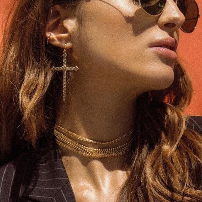 Golden Color Classic Cross style Drop Earrings Punk Style Long Earrings For Women Simple Earrings Statement Jewelry E0423