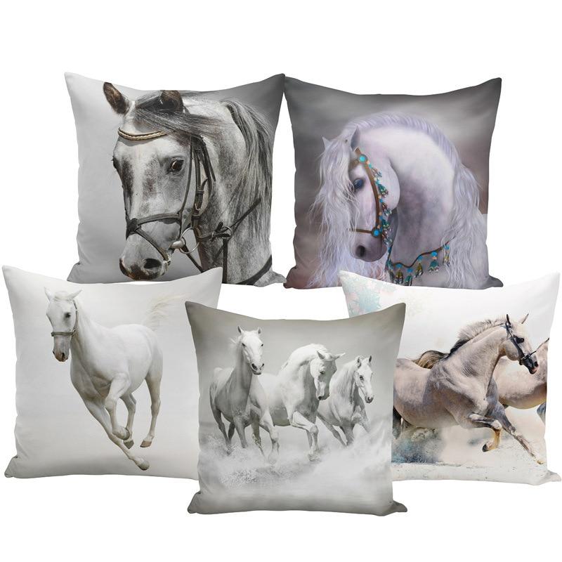 Throw Pillow Bts Case 45x45 Animal Print War White Horse Cushion Cover Sets for Chair Sofa Decorative Home Farmhouse Decor-in Cushion Cover from Home & Garden