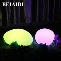 BEIAIDI IP68 Outdoor Garden Lawn Light RGB Led Swimming Pool Decor Lights USB Rechargeable Led Simulation Stone Lamp with Remote