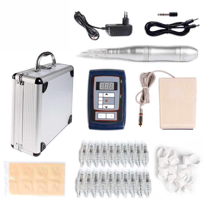 Tattoo kits Permanent Makeup Machine Tattoo Eyebrow Pen Tattoo Power Supply Pedal Practice Skin +20Pcs Needles Ink Ring Cup Wit professional permanent makeup tattoo eyebrow pen machine 50 needles tips power supply set us plug drop shipping wholesale