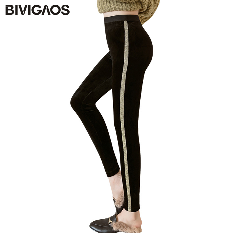 bacd767983e61a BIVIGAOS Autumn Winter New High Waist Velvet Fabric Leggings Women Black  Gold Side Striped Stretch Workout Leggings Pencil Pants