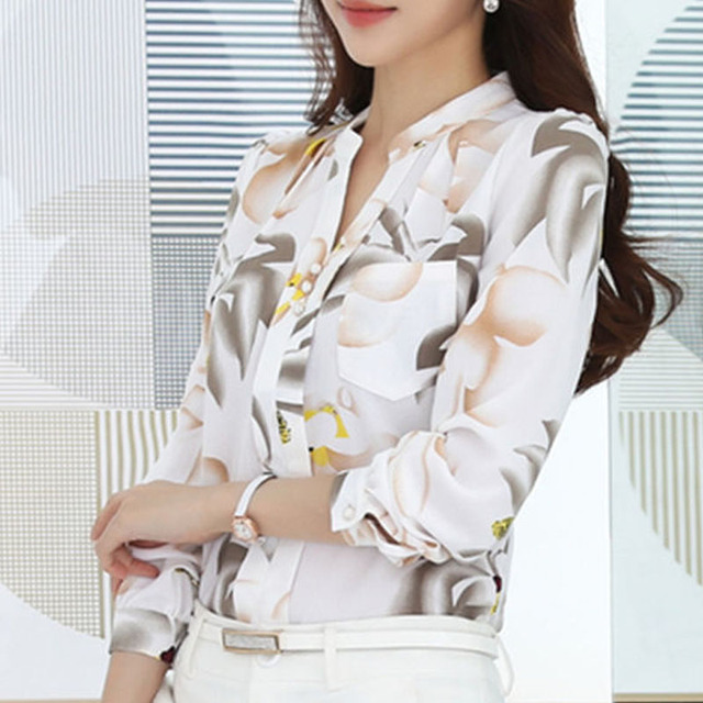 Fashion women tops 2019 ladies tops V-Neck Slim Chiffon blouse shirt Office Work Wear Women shirts Plus Size Blusas 882G 25 4
